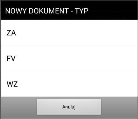 Typy dokumentów możliwych do wystawienia w systemie Mobilna Sprzedaż