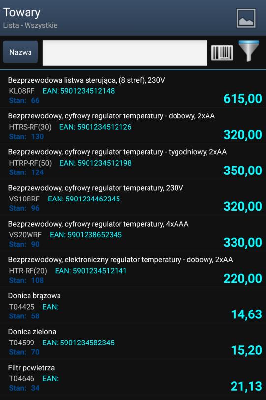 Lista towarów w systemie Mobilny Sprzedwaca