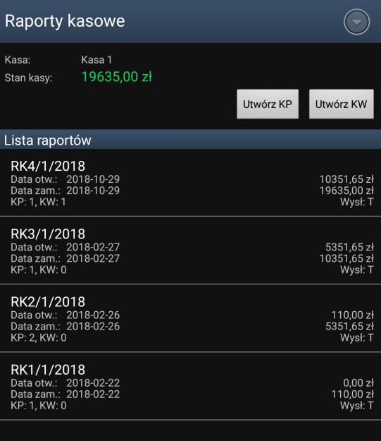 Raport Kasowy w systemie sprzedaż mobilna