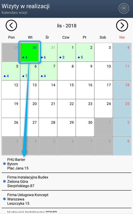 Kalendarz miesięczny z wizytami do realizacji w programie Mobilny CRM