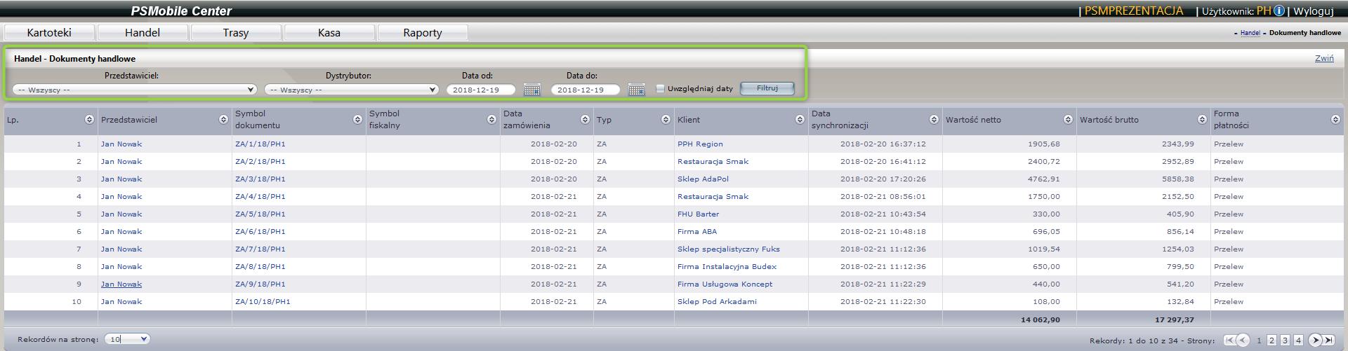 Lista dokumentów handlowych klienta w aplikacjie dla przedstawicieli handlowych