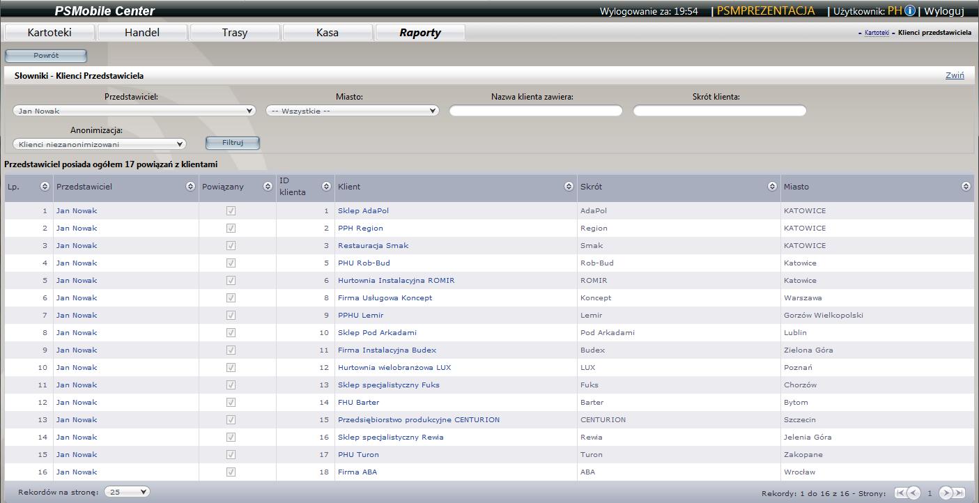 Lista klientów przedstawiciela w aplikacji dla przedstawicieli handlowych