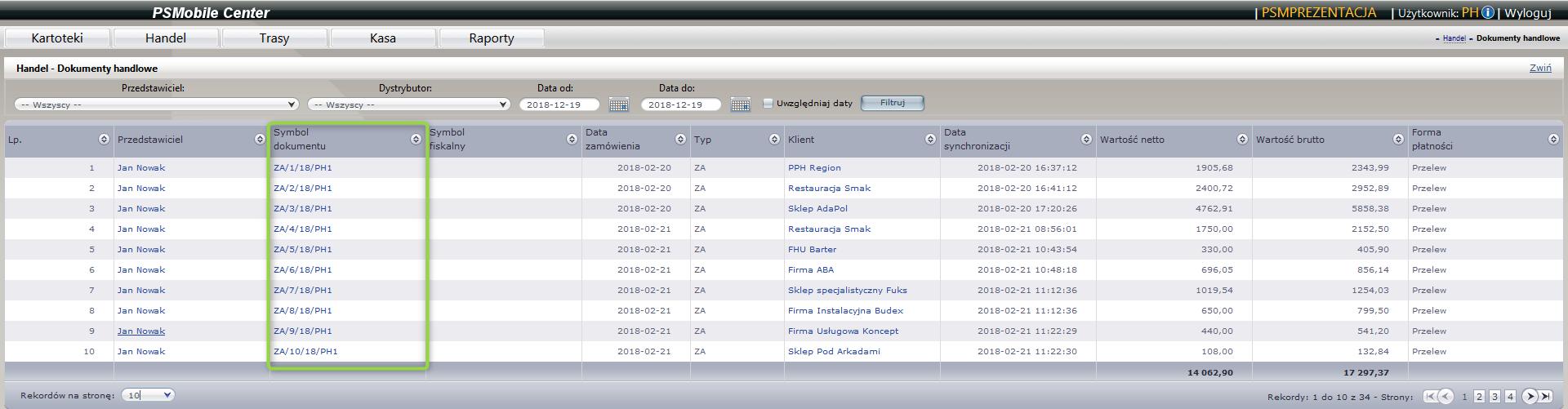 Lista dokumentów handlowych klienta w aplikacji dla przedstawicieli handlowych