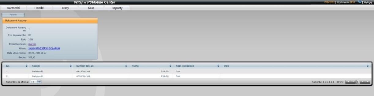 Dokumnety kasowe w systemie dla zarządzających handlowcami - moduł windykacji należności