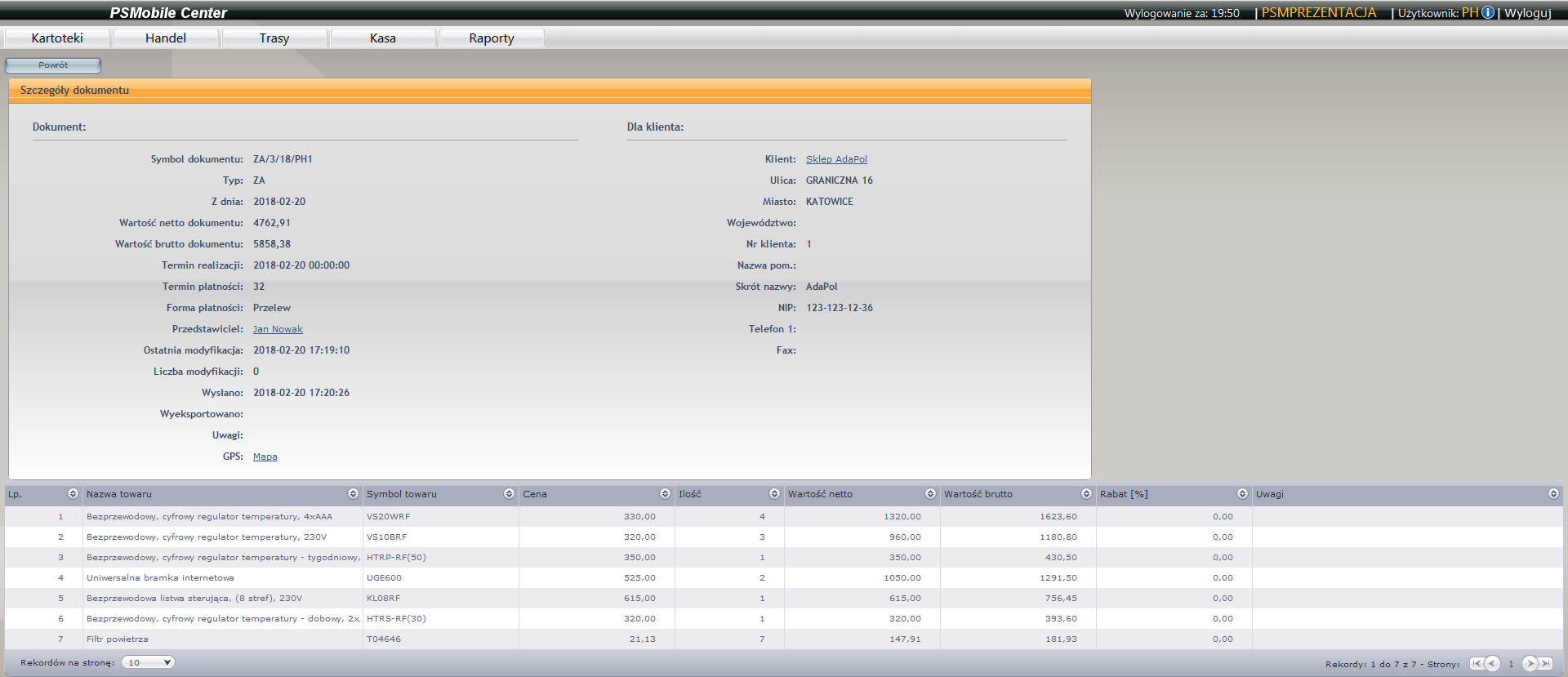 Ekran szczegółów dokumentu handlowego w aplikacji dla przedstawicieli handlowych