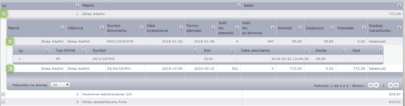 Szczegóły dokumentów kasowych w aplikacji do zarządzania przedstawiciela moduł windykacji