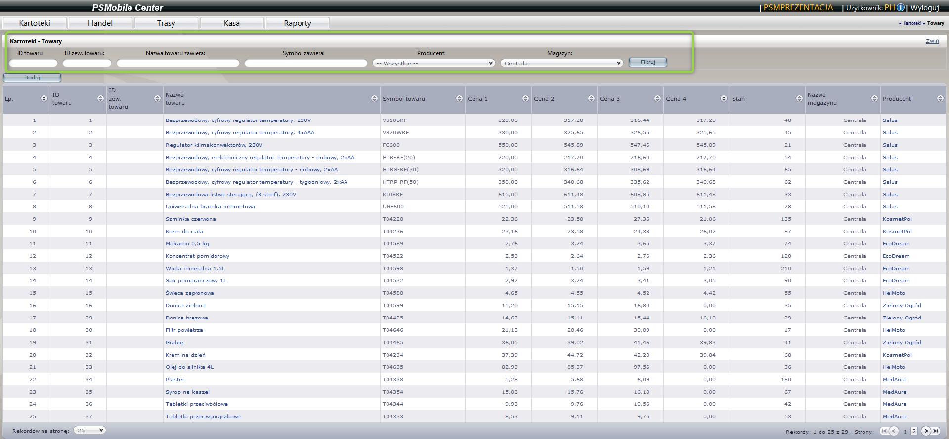 Lista towarów w aplikacji dla przedstawicieli handlowych